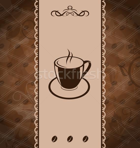 Vintage café menu grain de café texture illustration Photo stock © smeagorl
