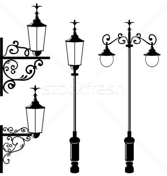 Set of vintage various streetlamp Stock photo © smeagorl