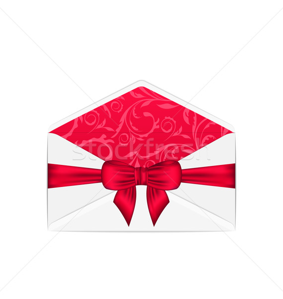 Boş açmak beyaz zarf pembe yay Stok fotoğraf © smeagorl
