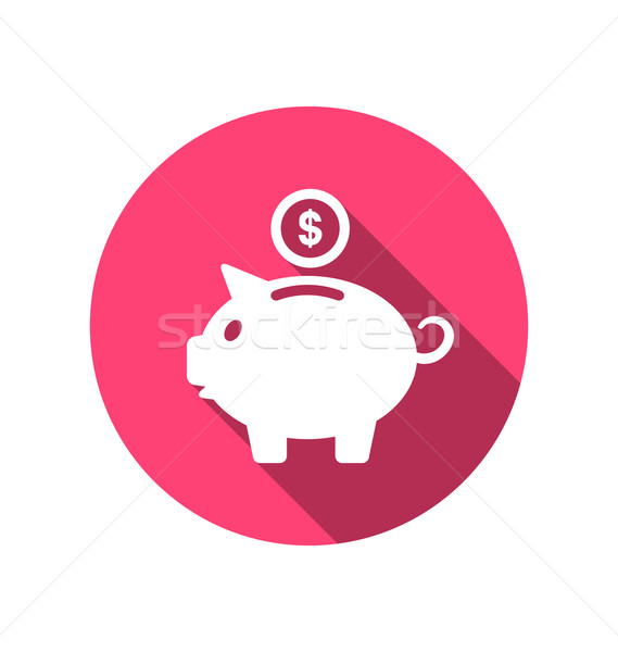 Flat icons of piggy bank concept, long shadow style Stock photo © smeagorl
