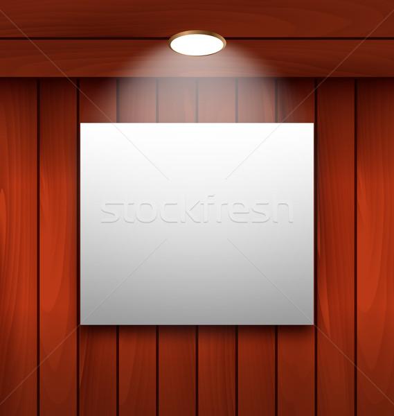 üres keret fából készült fal lámpa megvilágított Stock fotó © smeagorl