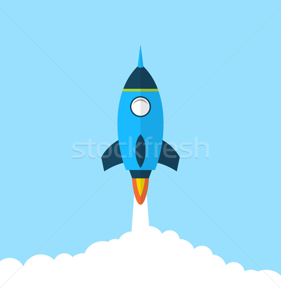 Stock photo: Flat icon of rocket with long shadow style, startup concept