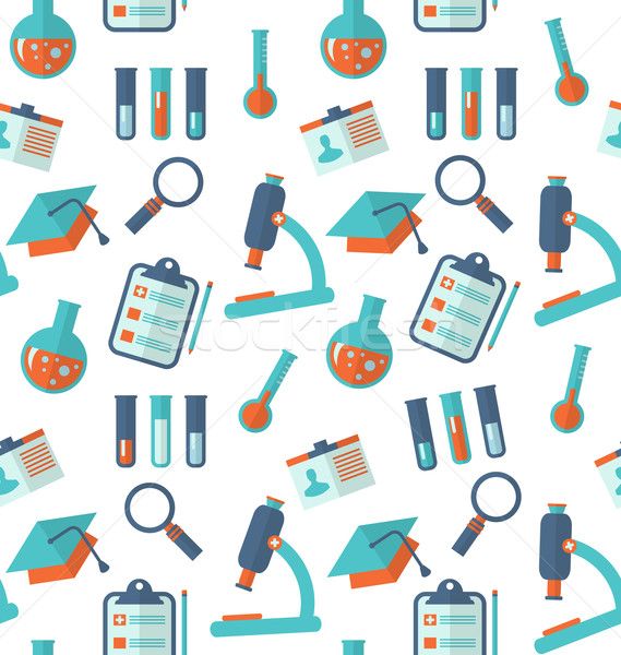 Chemical Seamless Pattern with Different Laboratory Objects Stock photo © smeagorl