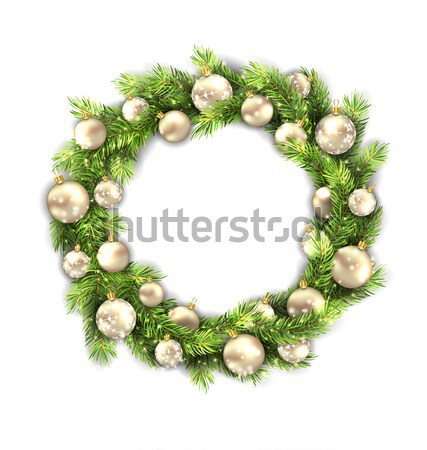 Christmas Wreath with Balls, New Year and Christmas Decoration Stock photo © smeagorl