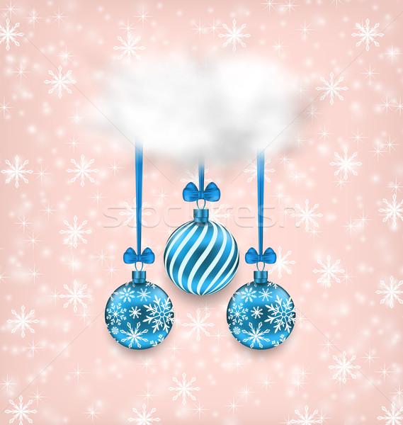 Christmas Elegance Card with Balls and Cloud Stock photo © smeagorl