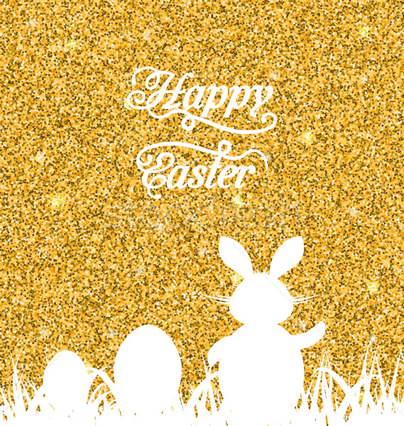 Abstract Easter Sparkle Background with Rabbit, Eggs, Grass Stock photo © smeagorl