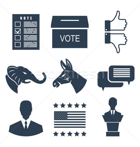 Választások kampány szavazás szett feliratok szimbólumok Stock fotó © smeagorl