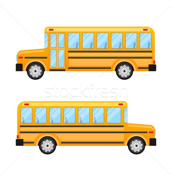 Schoolbus geïsoleerd witte illustratie weg stad Stockfoto © smeagorl