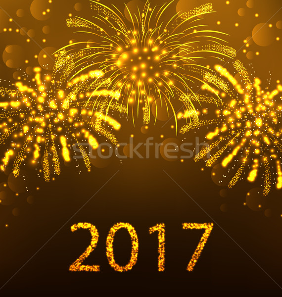 Happy New Year Fireworks 2017, Holiday Background Design Stock photo © smeagorl