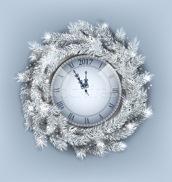 Christmas Wreath with Clock for Happy New Year 2017 Stock photo © smeagorl