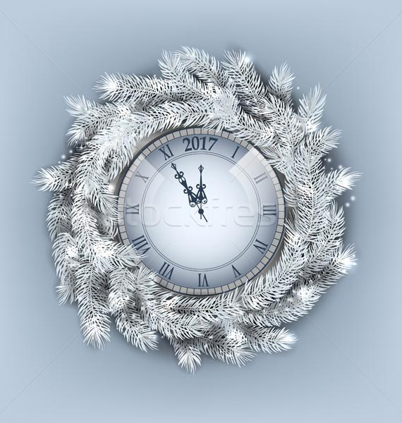Weihnachten Kranz Uhr glückliches neues Jahr Illustration Dekoration Stock foto © smeagorl