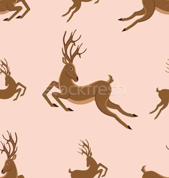 Seamless Pattern with Leaping Deers, Vintage Texture with Running Stags Stock photo © smeagorl