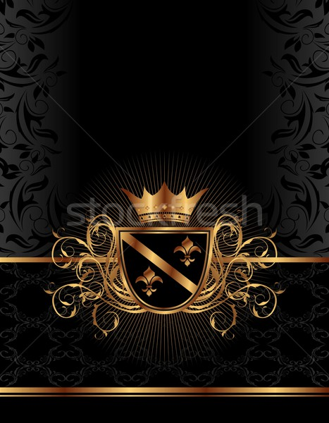 golden ornate frame with crown Stock photo © smeagorl