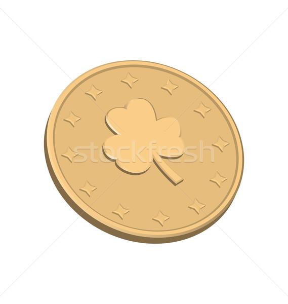 Golden coin with clover Stock photo © smeagorl