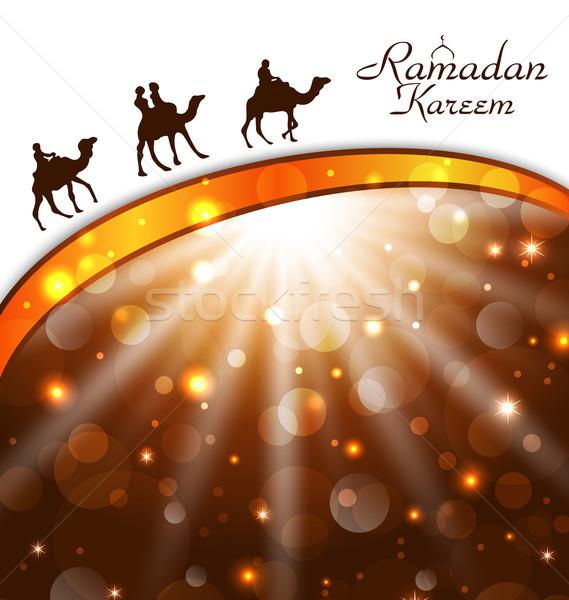 Celebration card with camels for Ramadan Kareem  Stock photo © smeagorl