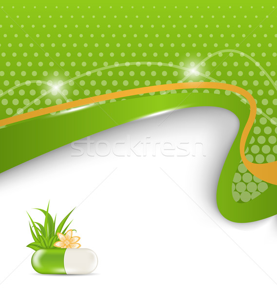 background for medical theme with green pill, flower, leaves, gr Stock photo © smeagorl