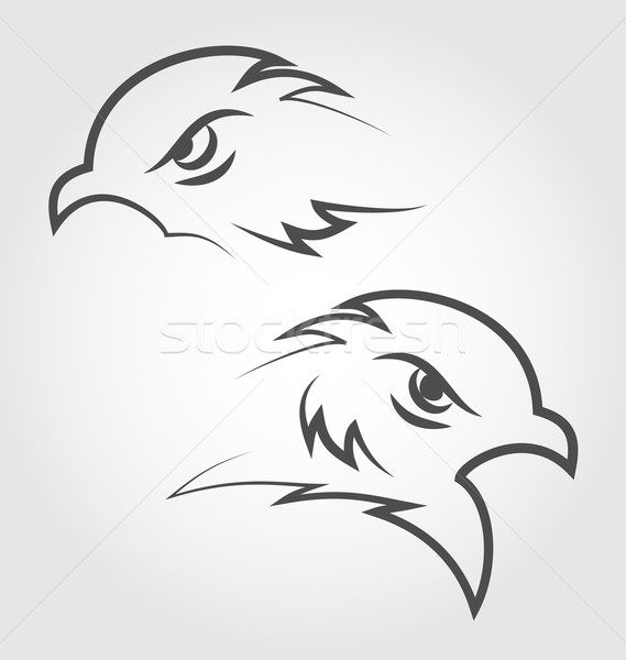 Icon eagle heads, outline style Stock photo © smeagorl