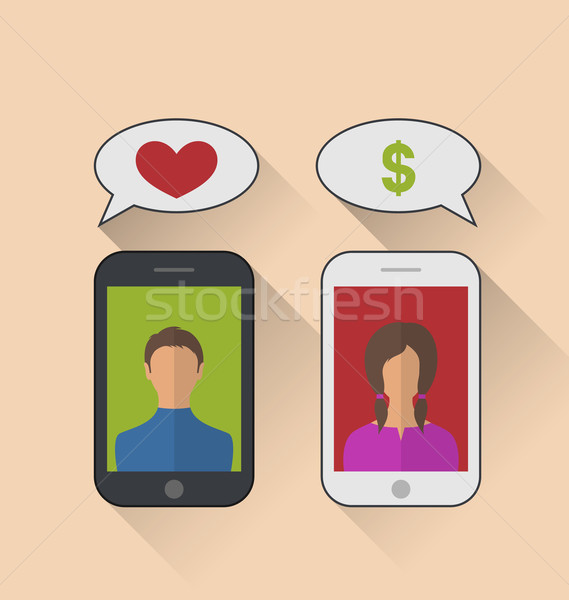 Fake relationship, woman with dollar sign instead of the heart Stock photo © smeagorl