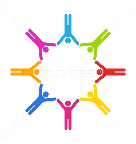 Jedność ludzi biznesu ilustracja zespołu kolorowy proste Zdjęcia stock © smeagorl