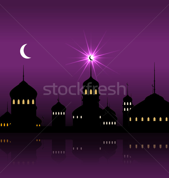 Ramadan Kareem Night Background with Silhouette Mosque and Minarets Stock photo © smeagorl
