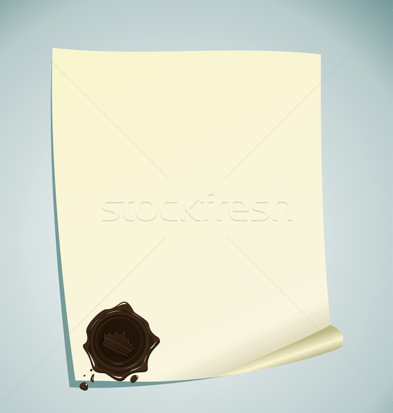 Illustration of paper with brown wax sealing Stock photo © smeagorl