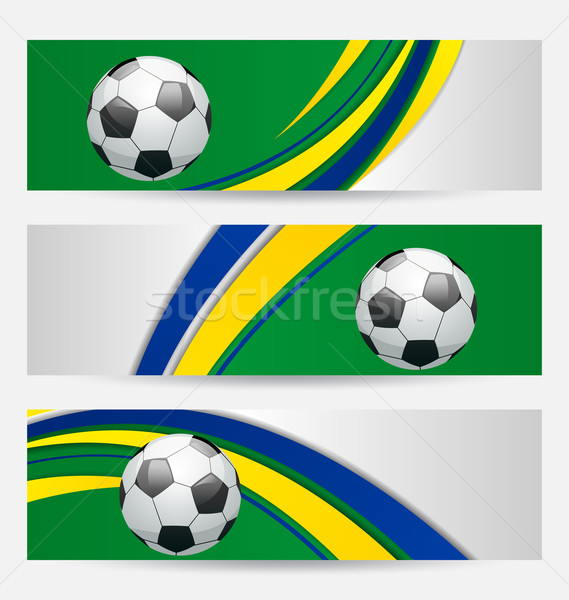 Conjunto futebol cartões Brasil bandeira cores Foto stock © smeagorl