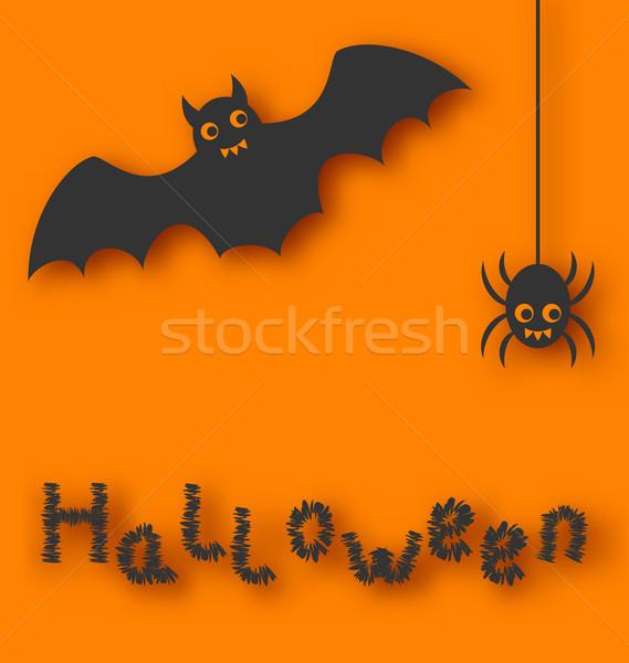 Cartoon bat and spider on orange background Stock photo © smeagorl