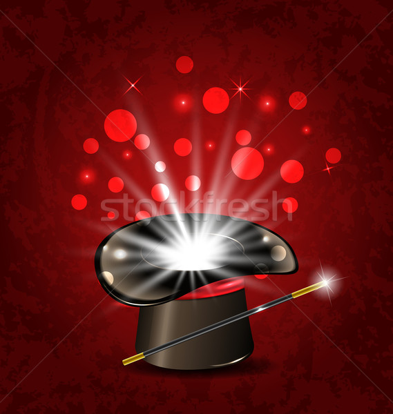 Magician hat, wand and magical glow Stock photo © smeagorl