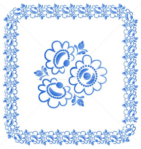 Decorative border with beautiful flowers Stock photo © smeagorl