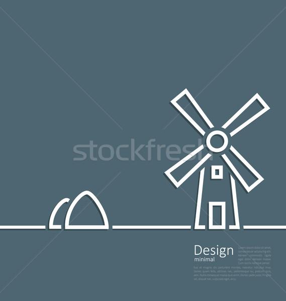 Illustration village landscape windmill haystack, design minimal Stock photo © smeagorl