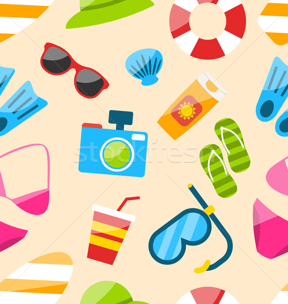 Seamless Pattern with Tourism Objects Stock photo © smeagorl