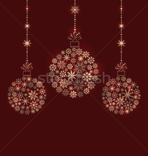 Christmas Balls Made of Snowflakes for Winter Holidays Stock photo © smeagorl