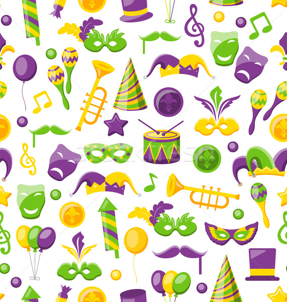 Seamless Texture with Set Carnival and Mardi Gras Icons and Objects Stock photo © smeagorl