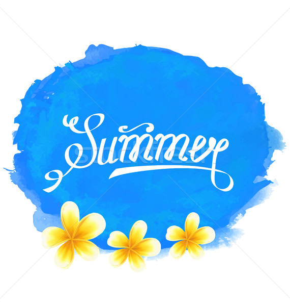 Typographic Text, Summer Label with Frangipani Flowers Stock photo © smeagorl