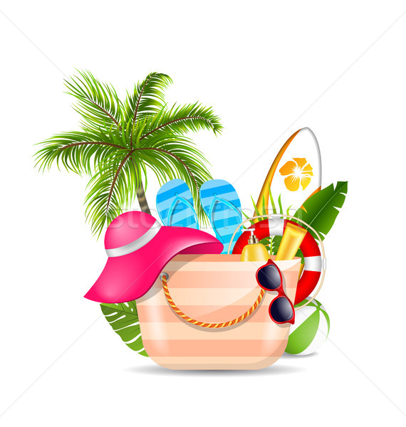 Female Bag with Beach Accessories. Set of Travel Design Elements for Voyage Stock photo © smeagorl