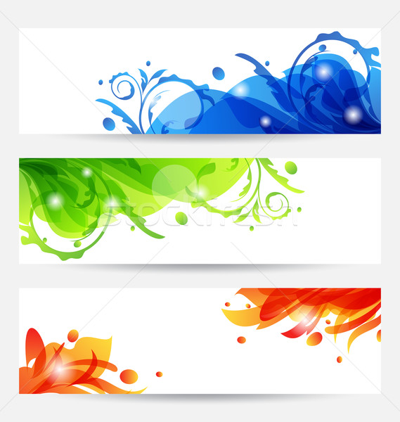 Set brochure templates with flower frames Stock photo © smeagorl