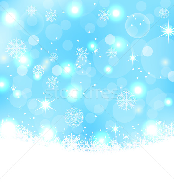 Foto d'archivio: Natale · abstract · fiocchi · di · neve · stelle · illustrazione · neve