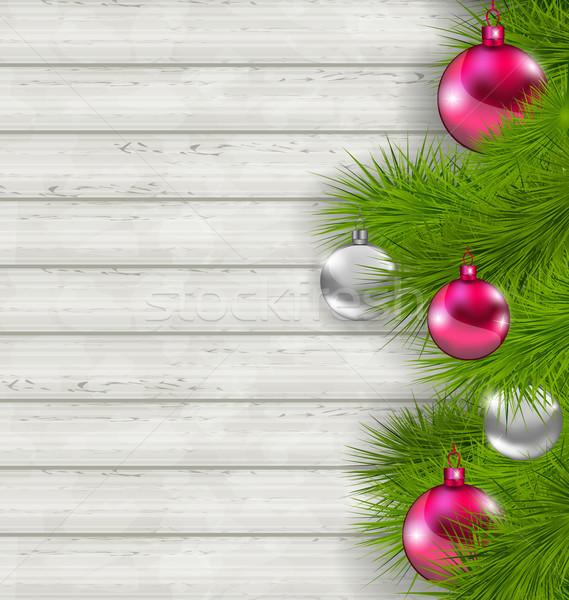 Christmas szkła wiszący jodła ilustracja Zdjęcia stock © smeagorl