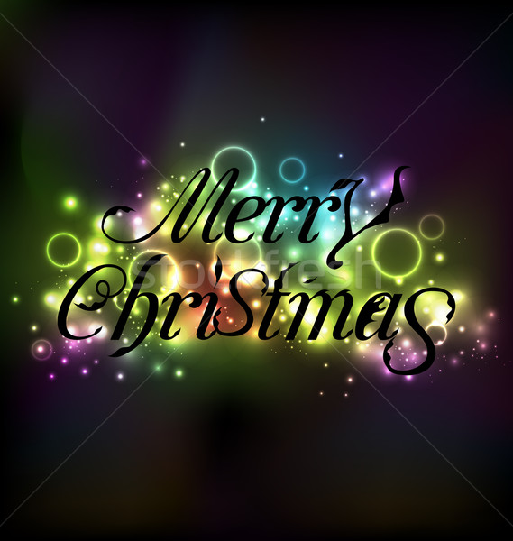 Merry Christmas floral text design, shimmering glowing backgroun Stock photo © smeagorl