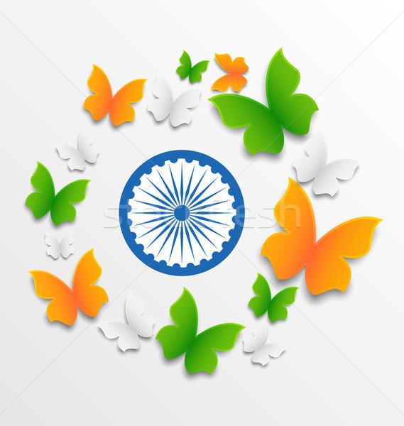 Motyle tradycyjny tricolor indian banderą ilustracja Zdjęcia stock © smeagorl