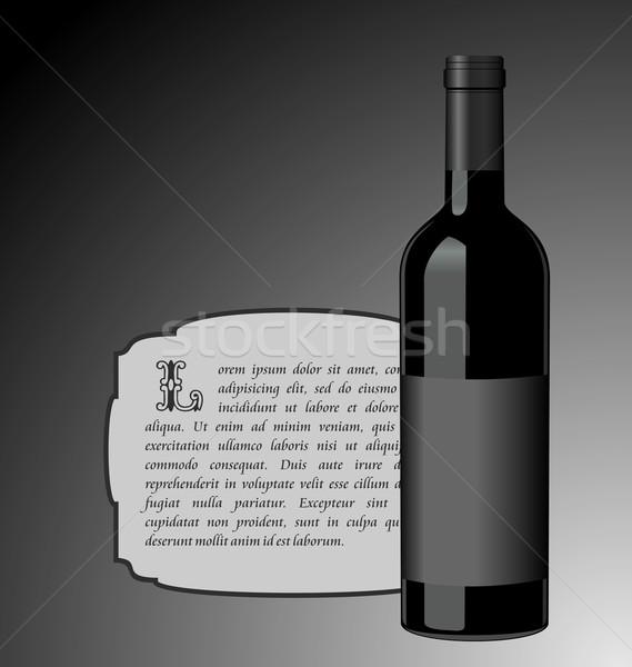 Ilustracja elita butelkę wina czarny etykiety projektu Zdjęcia stock © smeagorl
