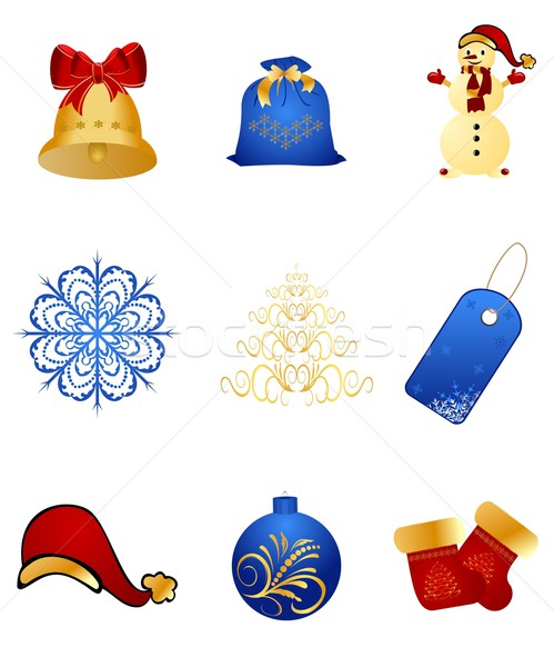 Set New Year's, christmas symbols and elements Stock photo © smeagorl