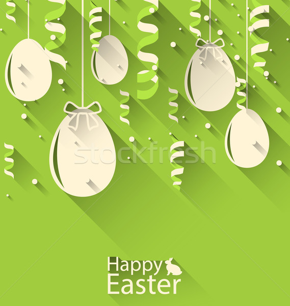Happy Easter Green Background with Eggs and Serpentine Stock photo © smeagorl