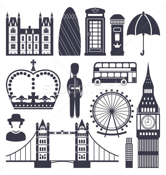 Silhouette Symbole Großbritannien Reich Illustration Big Ben Stock foto © smeagorl