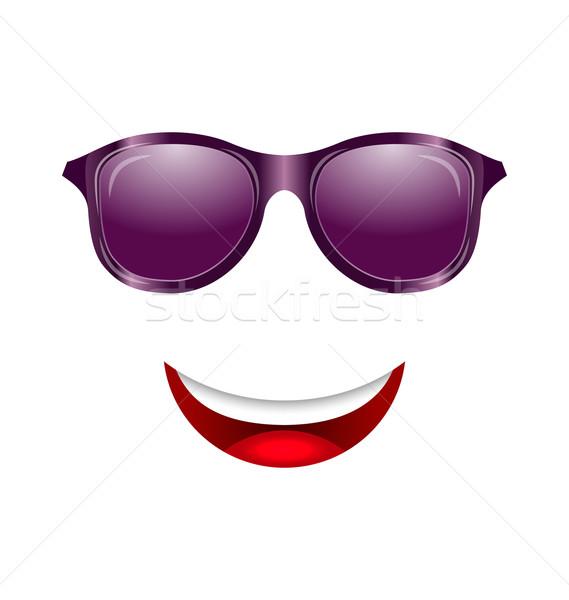 Сток-фото: аннотация · весело · лице · рот · Солнцезащитные · очки · иллюстрация