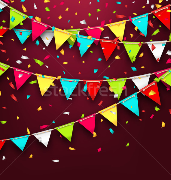 Holiday Background with Colorful Bunting and Confetti Stock photo © smeagorl