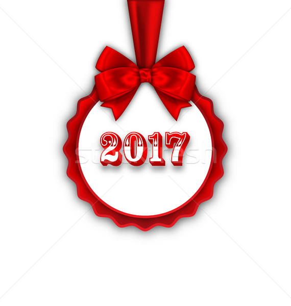 Happy New Year 2017 Card with Red Silk Ribbon and Bow Stock photo © smeagorl