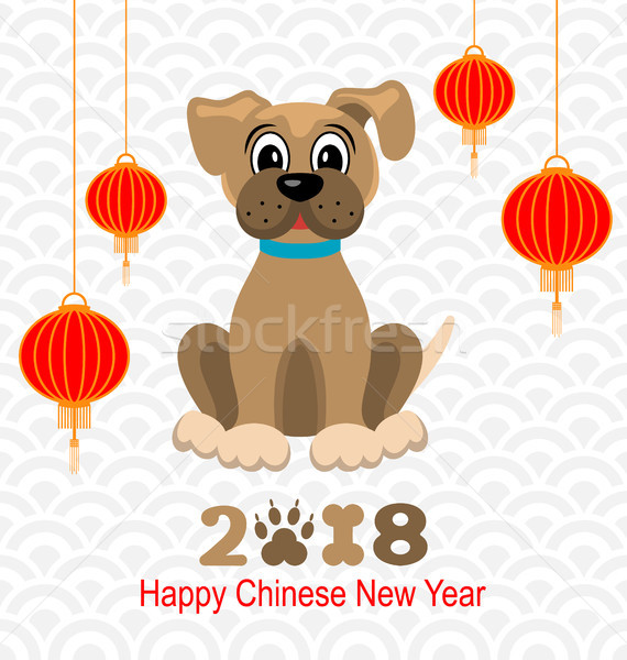 2018 Happy Chinese New Year of Dog, Lanterns and Doggy Stock photo © smeagorl
