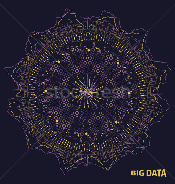 Big Data Visualization. Fractal Elements with Lines and Dots Array. Visual Abstract Structure Stock photo © smeagorl
