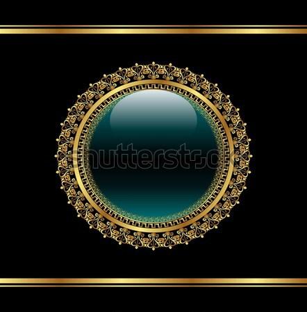 Arany virágmintás medál csomagol illusztráció virág Stock fotó © smeagorl